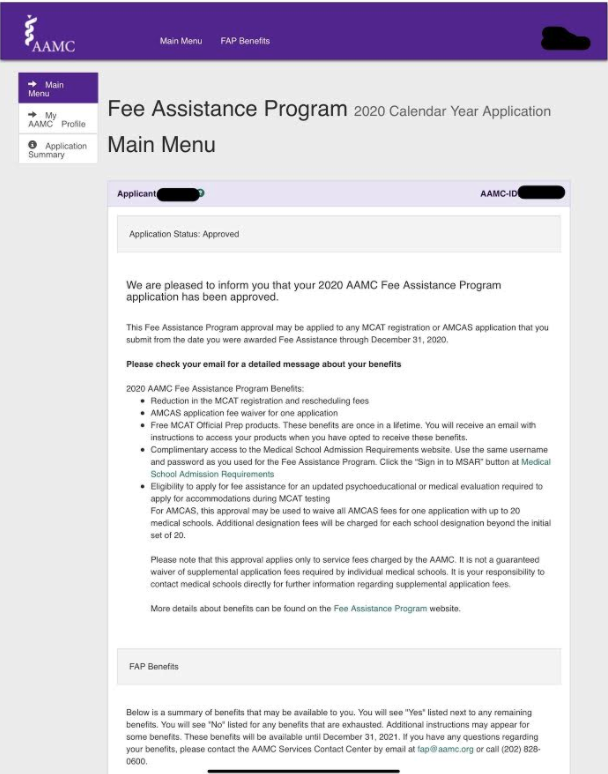 MCAT Fee Assistance Example